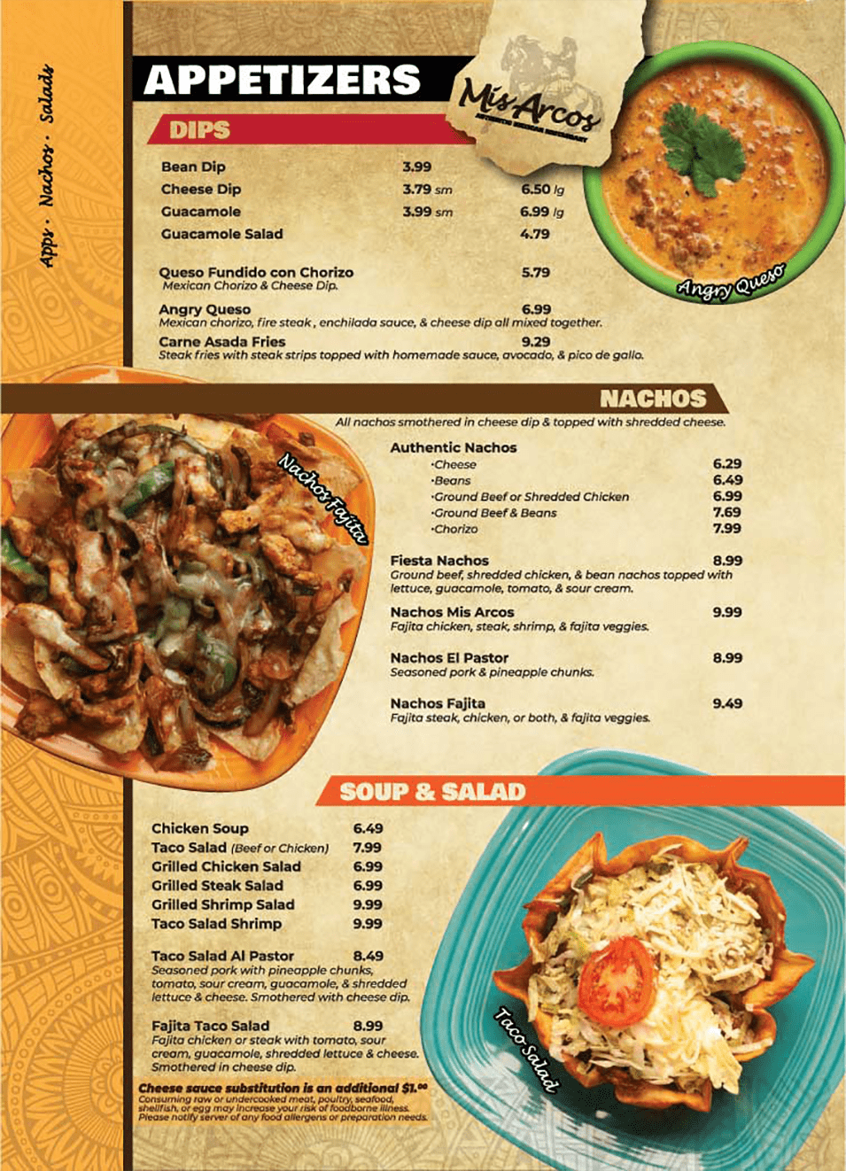 Menu Appetizers Mis Arcos Authentic Mexican Restaurant