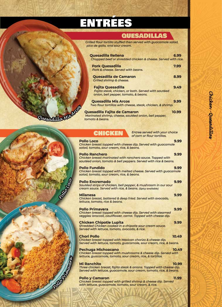 Entrees Mis Arcos Authentic Mexican Restaurant