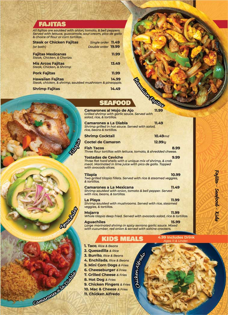 Entrees Continued Mis Arcos Authentic Mexican Restaurant